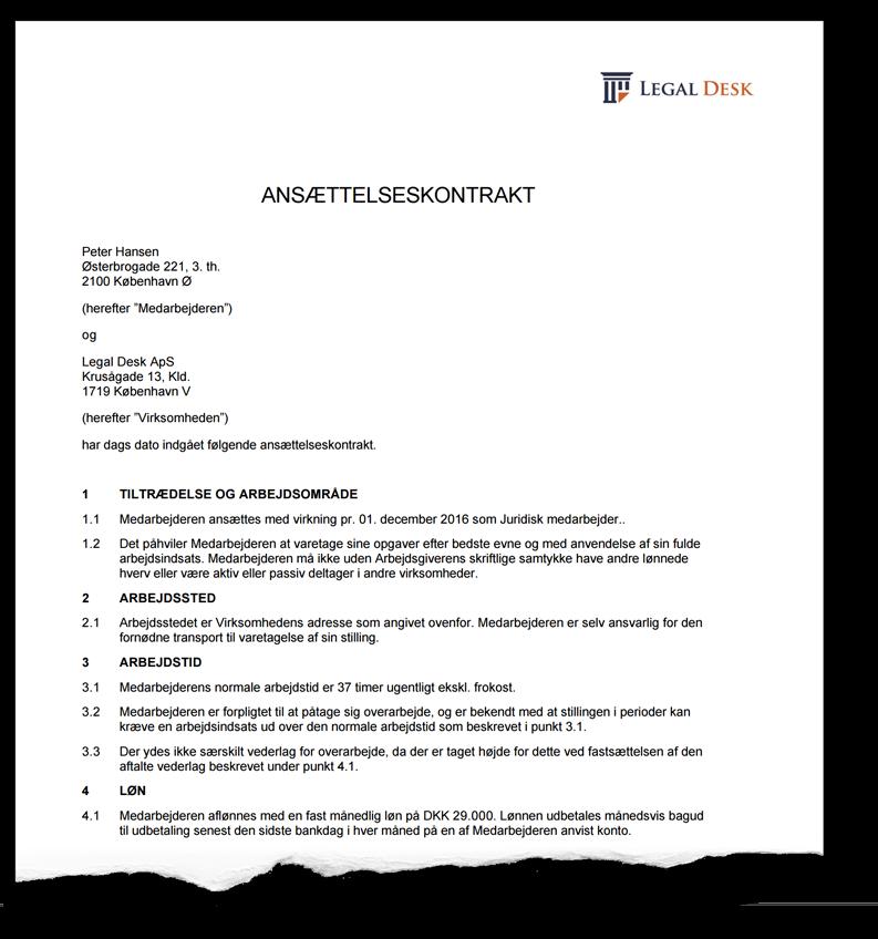 Lav gratis ansættelseskontrakt for funktionær - Legal Desk